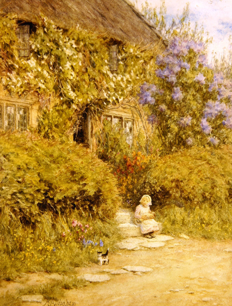 Detail of A cottage near Crewkerne by Helen Allingham