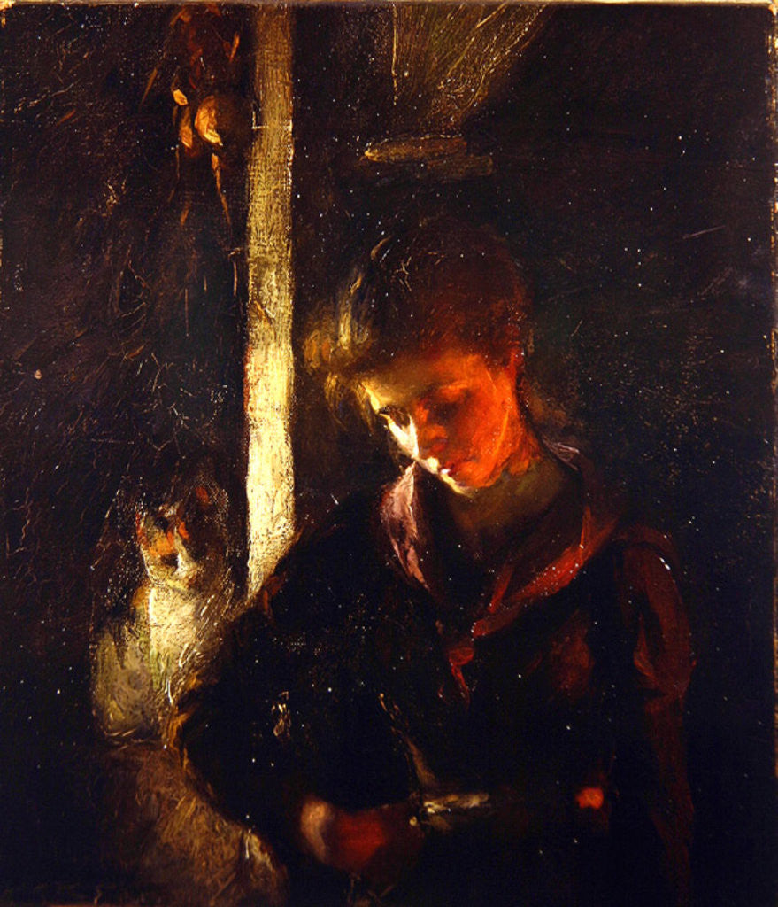 Detail of By the Fireside by Frank Bramley
