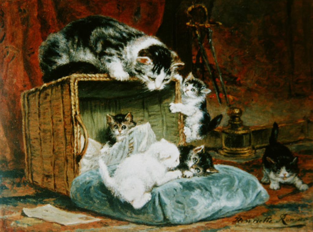 Detail of Playtime by Henriette Ronner-Knip