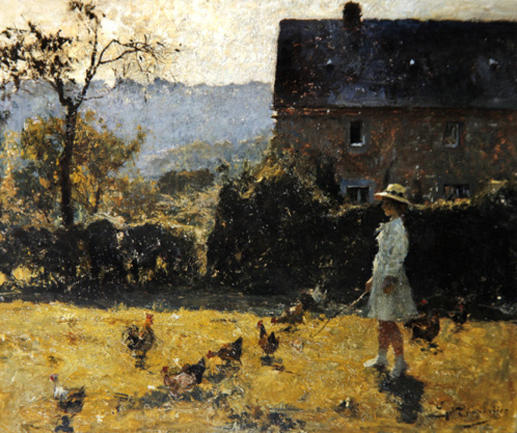 Detail of By the Farmhouse by Evariste Carpentier