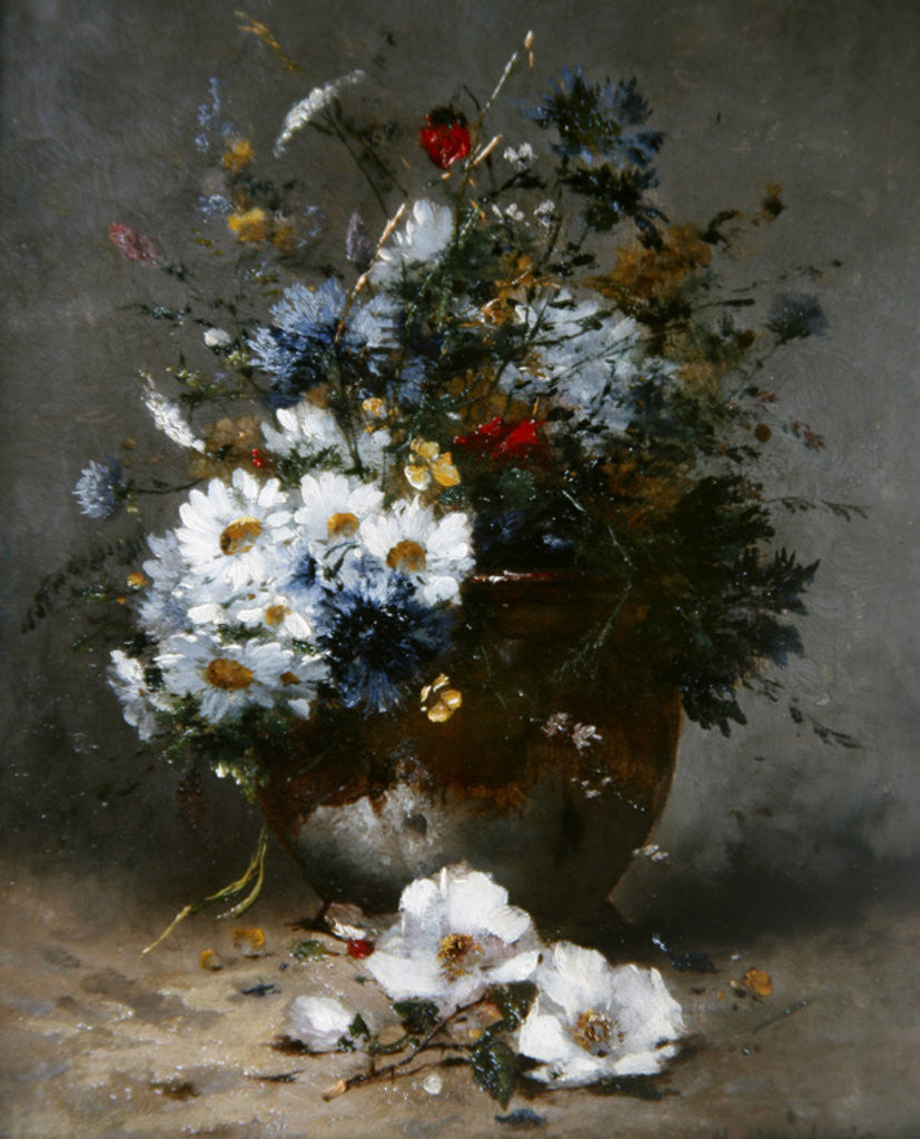 Detail of Daisies and Cornflowers by Eugene Henri Cauchois