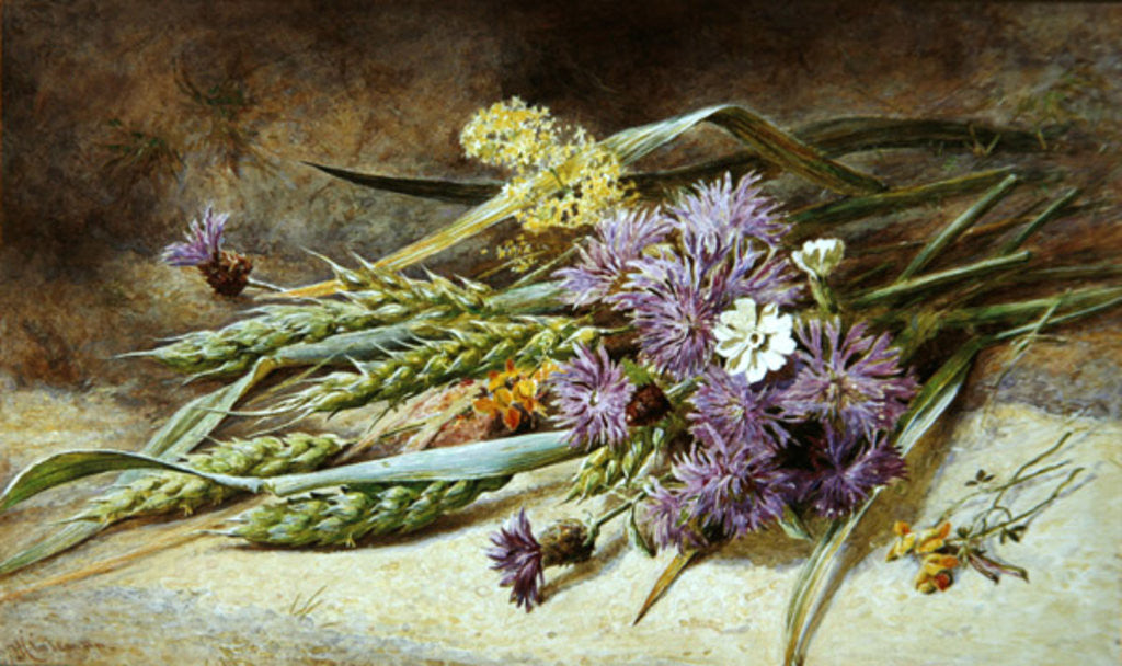 Detail of Green Wheat and Wild Flowers by Helen Cordelia Coleman Angell