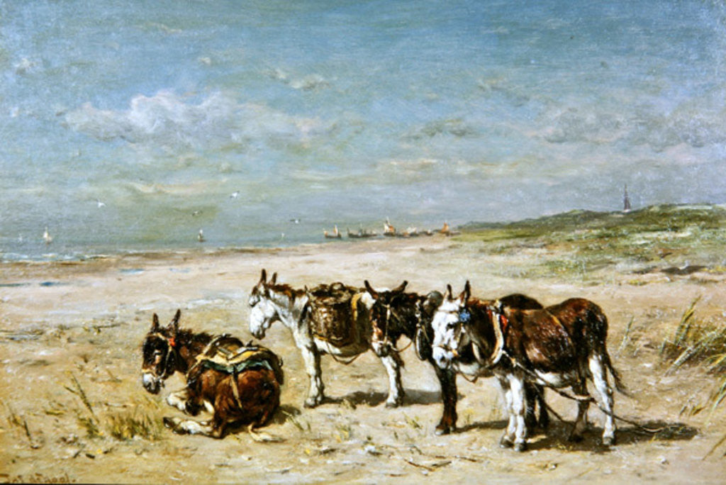 Detail of Donkeys on the Beach by Johannes Hubertus Leonardus de Haas