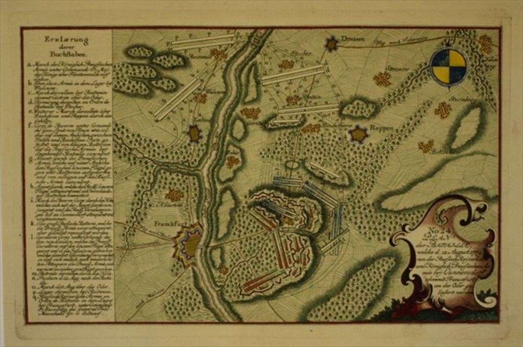 Detail of Plan of the Battle of Kunersdorf by German School