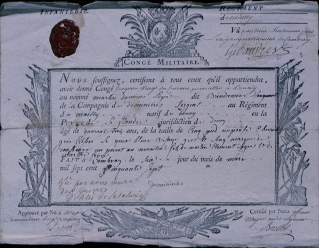 Detail of Permit for the Battle of Rossbach by German School