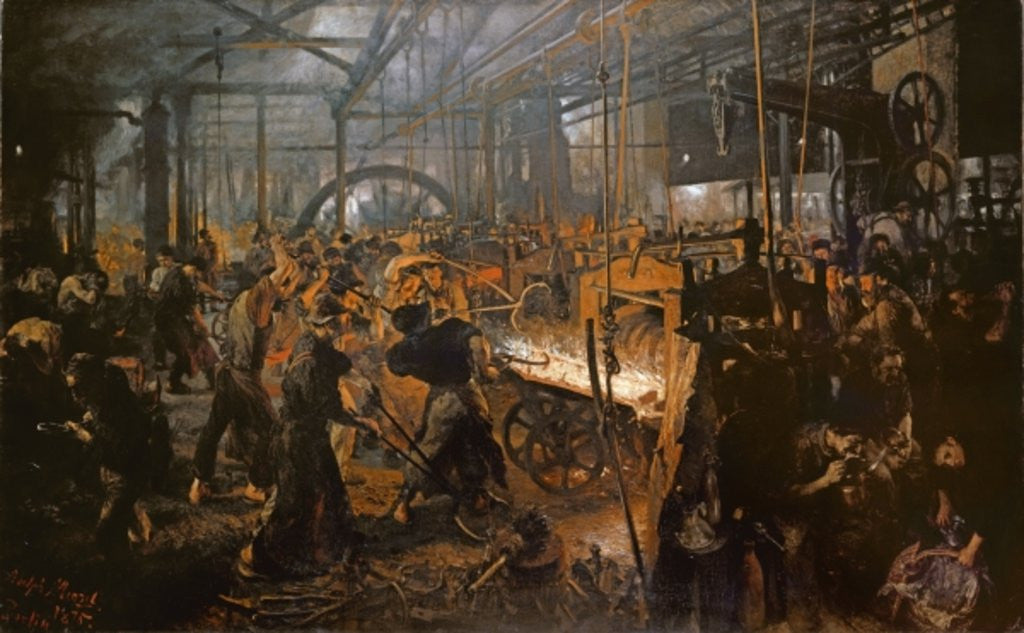 Detail of The Iron-Rolling Mill by Adolph Friedrich Erdmann von Menzel