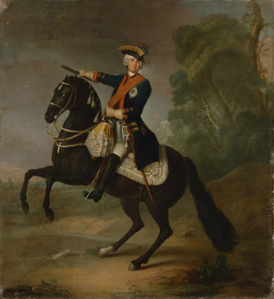 Detail of Kurt Christoph Graf von Schwerin on horseback by Antoine Pesne