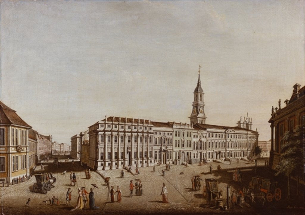 Detail of View of Castle Street and the Fiaker Square, Potsdam by Johann Friedrich Meyer