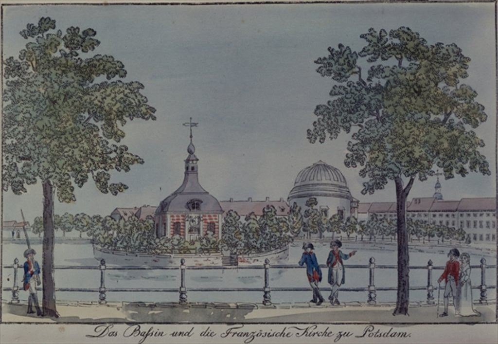 Detail of The Pool and French Church in Potsdam by Johann Friedrich Nagel