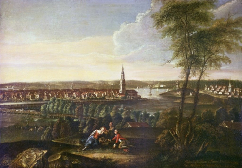 Detail of View of the Church of the Holy Spirit and the suburb of Nowawes from Brauhausberg by Johann Friedrich Meyer
