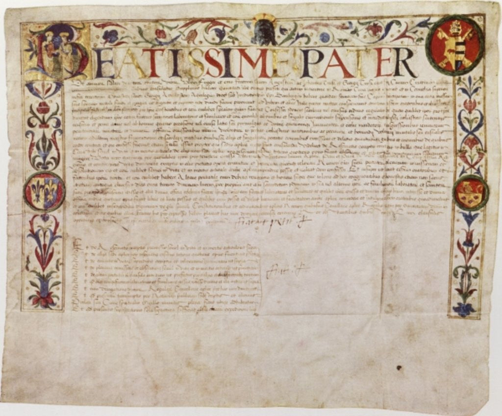 Detail of A petition from the German banking family Fugger to Pope Alexander VI by German School