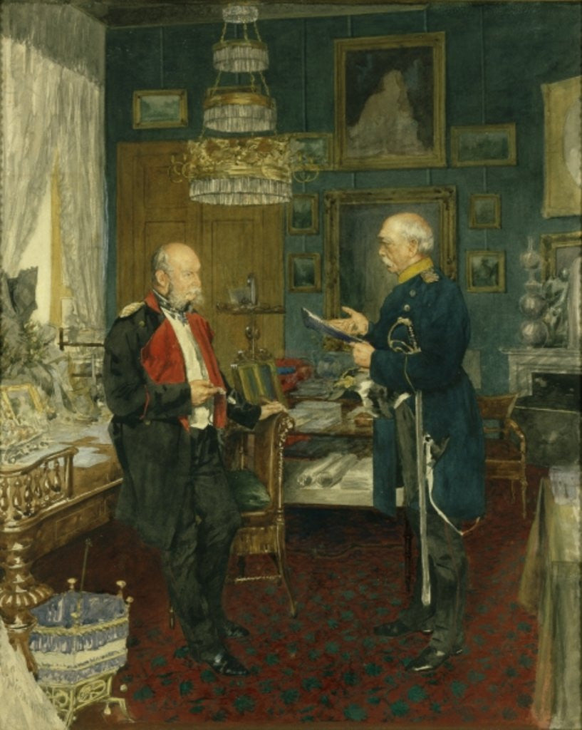 Detail of Bismarck with Emperor Wilhelm I by Konrad Siemenroth