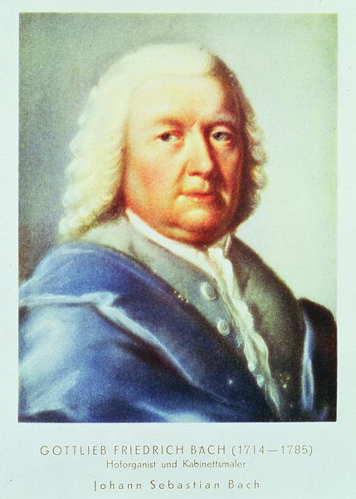 Detail of Portrait of Johann Sebastian Bach by Gottlieb Friedrich Bach