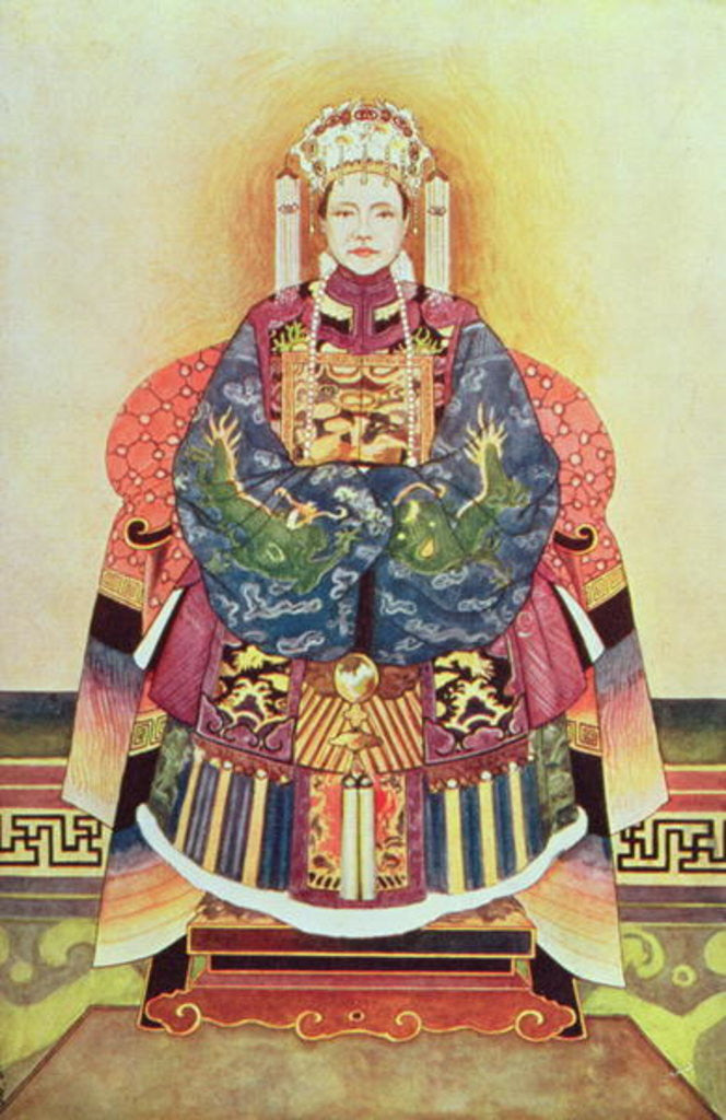 Detail of Portrait of Tzu Hsi, the Empress Dowager by Chinese School