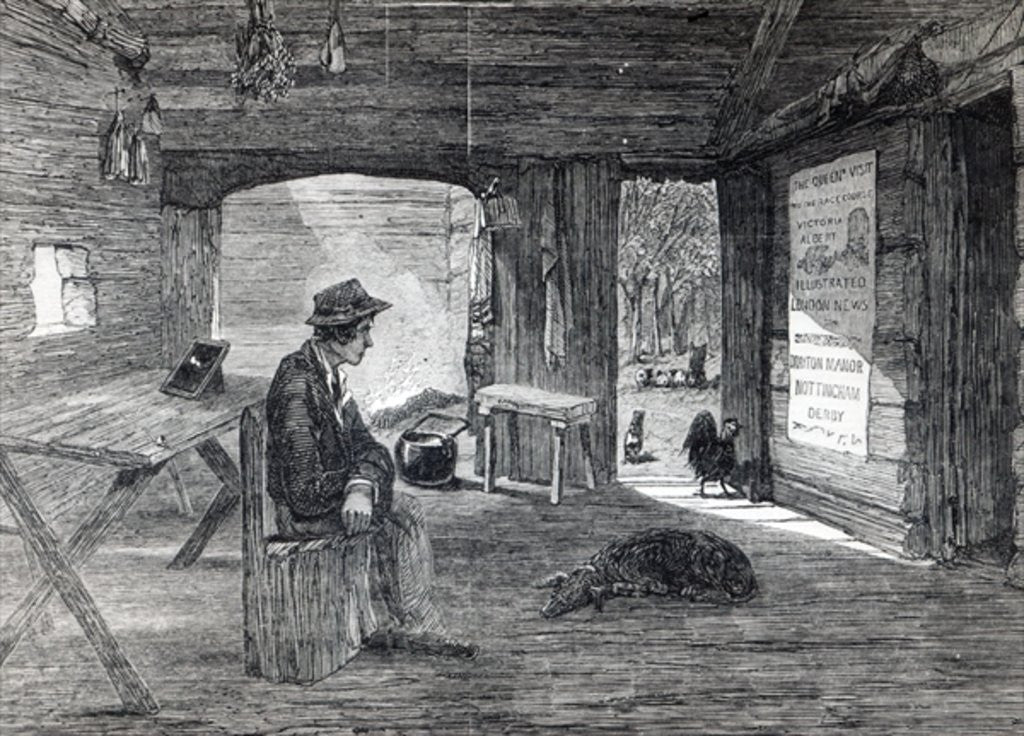Detail of Interior of a settler's hut in Australia by English School