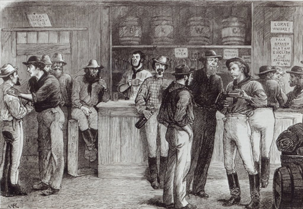 Detail of 'A general shout', inside a bush tavern by English School