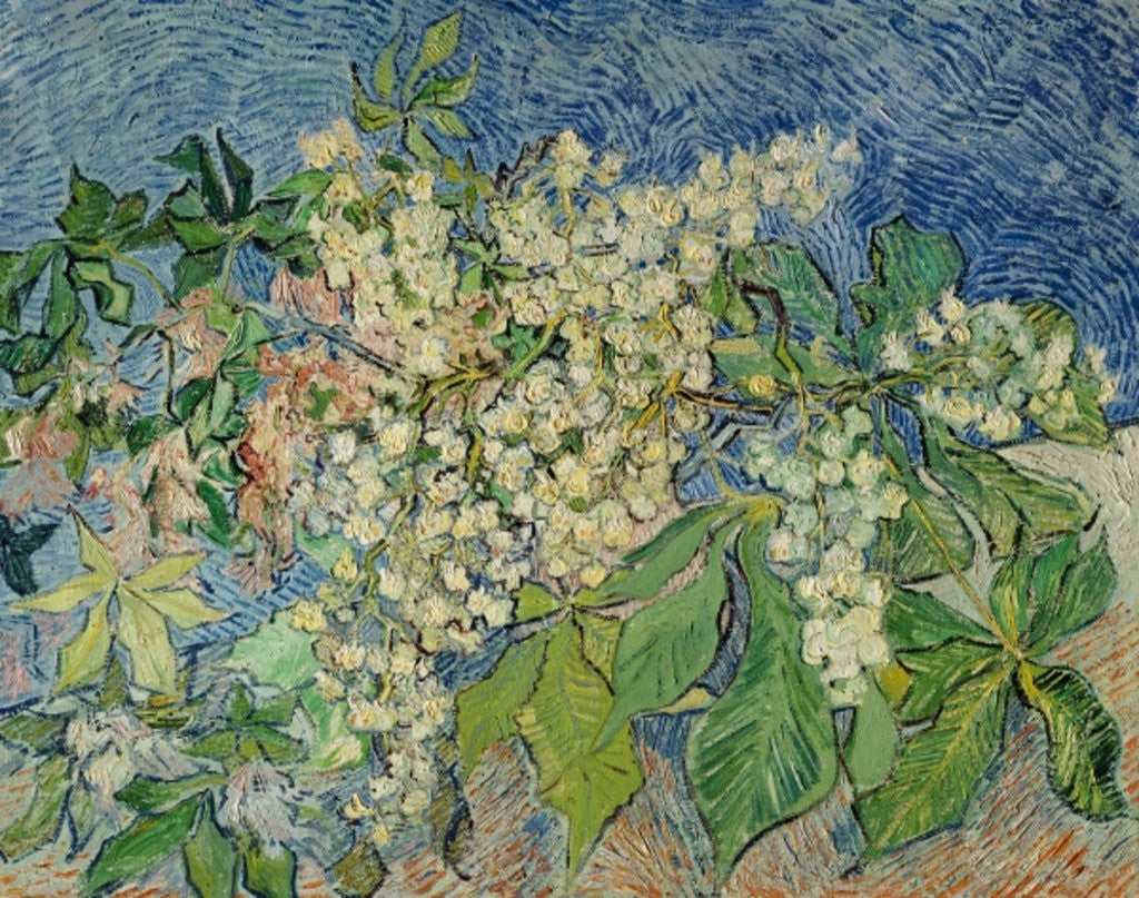 Detail of Blossoming Chestnut Branches by Vincent van Gogh
