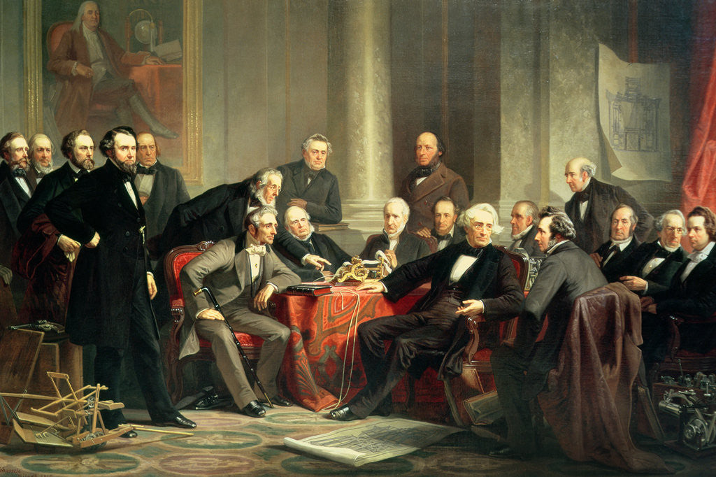 Detail of Men of Progress: group portrait of the great American inventors of the Victorian Age by Christian Schussele
