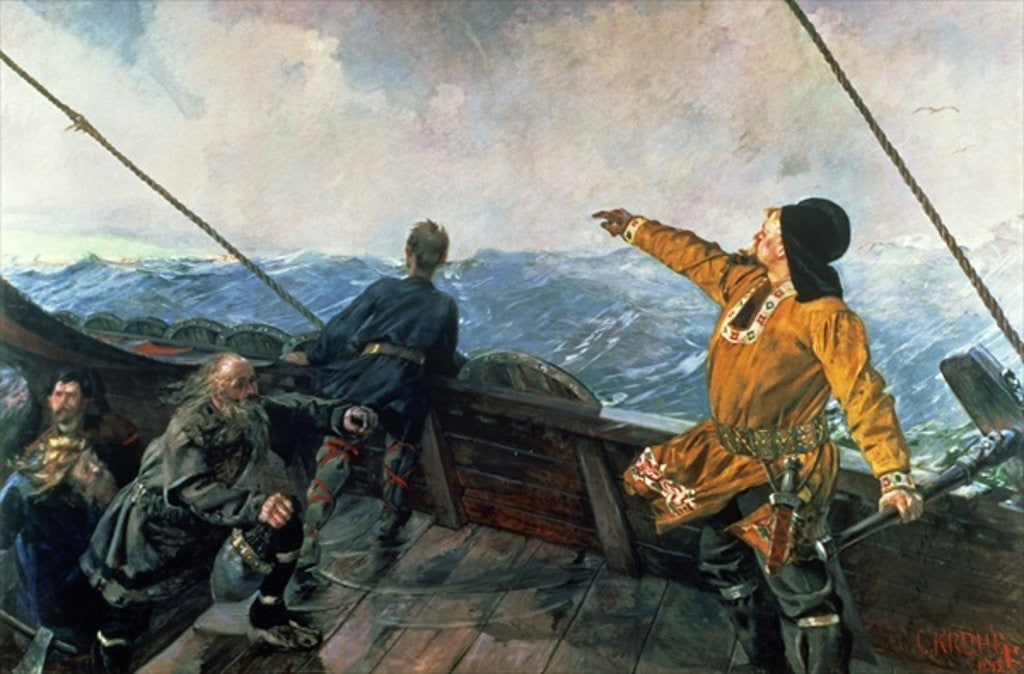 Detail of Leif Eriksson (10th century) sights land in America by Christian Krohg