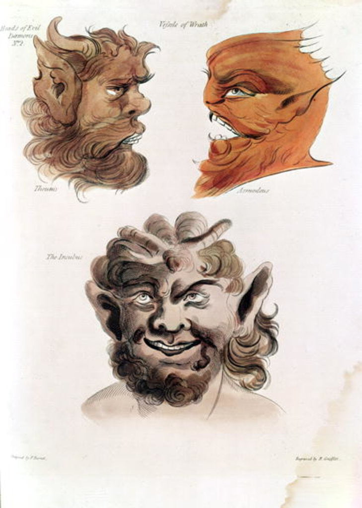 Detail of Heads of Evil Demons: Theumis, Asmodeus and The Incubus by Francis Barrett