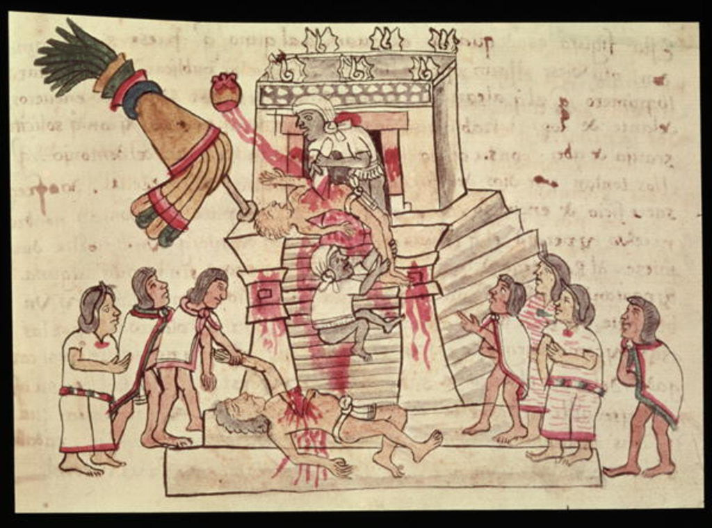 Detail of B.R. 232 fol.70r A human sacrifice from the Codex Magliabechiano by Aztec