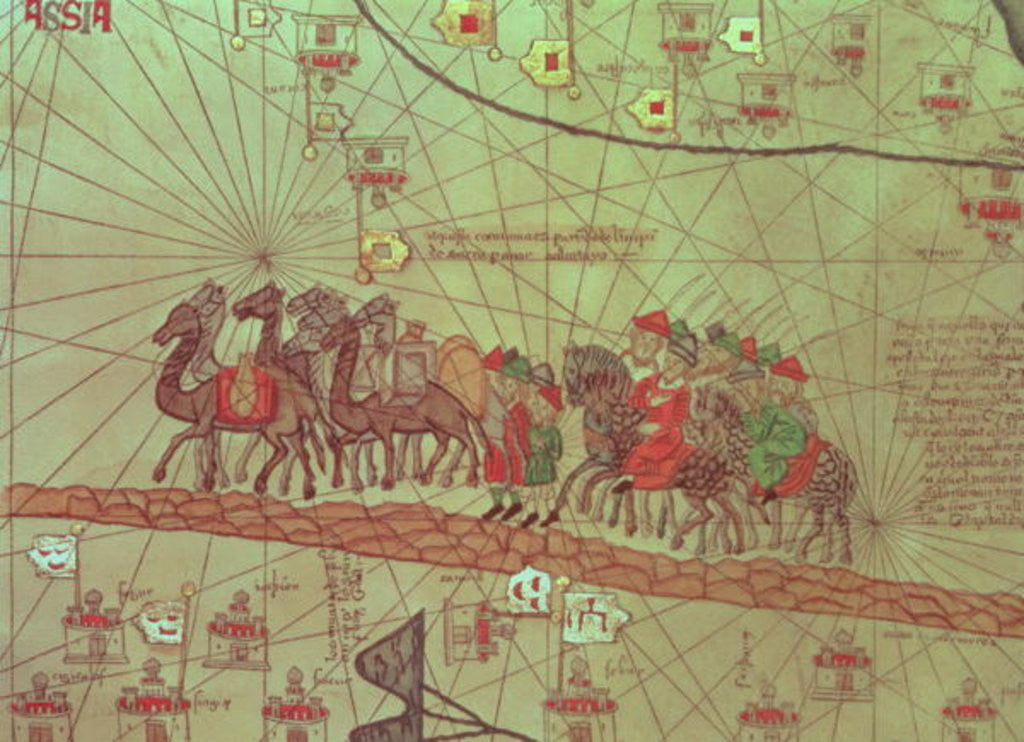 Detail of Catalan Atlas, detail showing the family of Marco Polo travelling by camel caravan by Spanish School