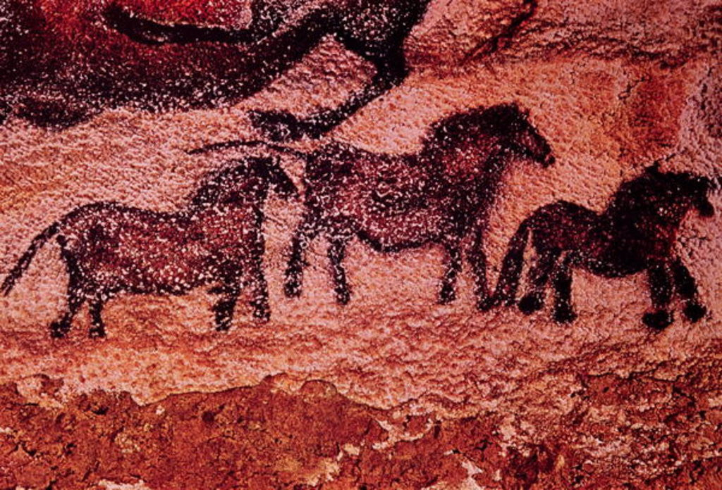 Detail of Rock painting of tarpans (ponies) by Prehistoric
