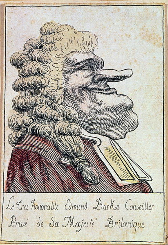 """The very honourable Edmund Burke, private adviser to His Majesty, the British king"""", French caricature, c.1790"""