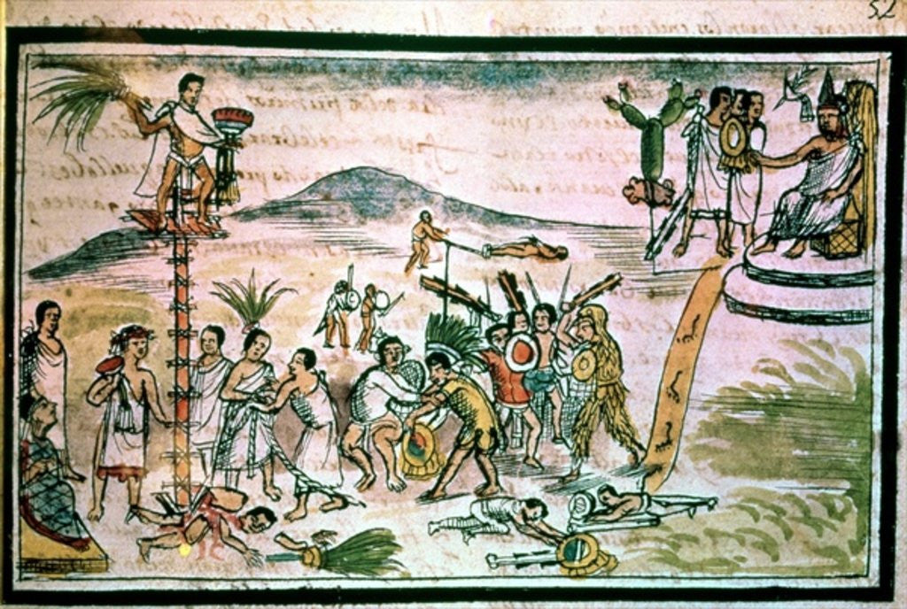 Detail of Aztec warriors engage in a ceremonial battle known as the Flowery War, in order to capture future victims for sacrifice by Spanish School