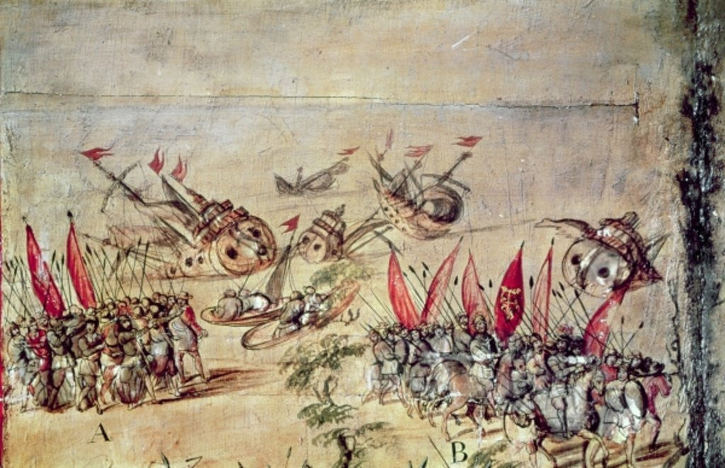 Detail of Cortes sinking his fleet off the coast of Mexico by Spanish School