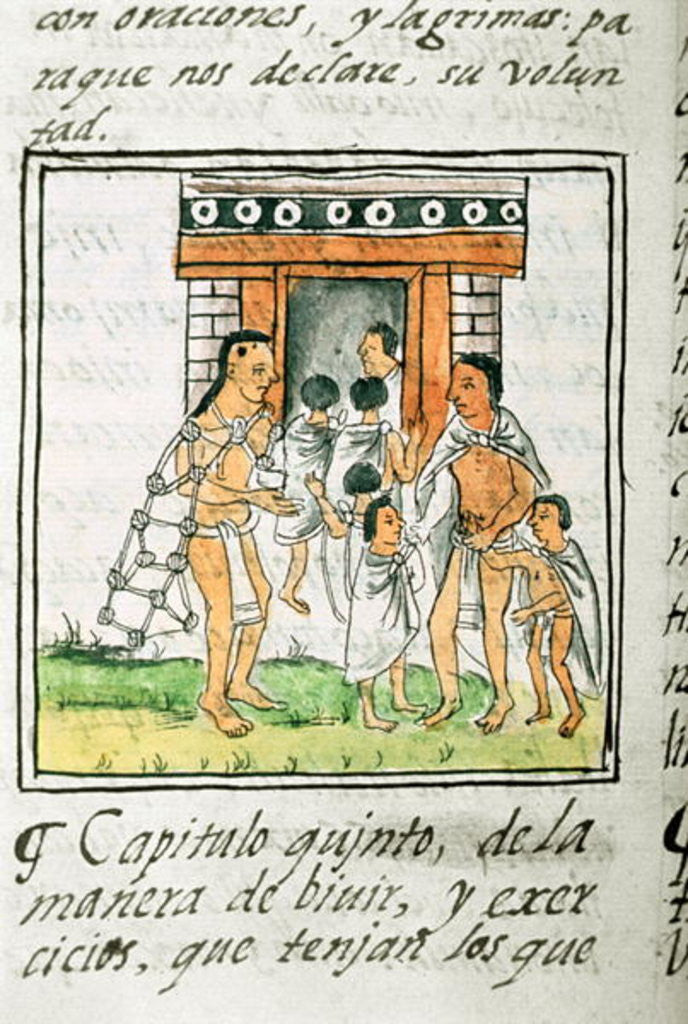 Detail of Book IX Young children entering a house by Spanish School
