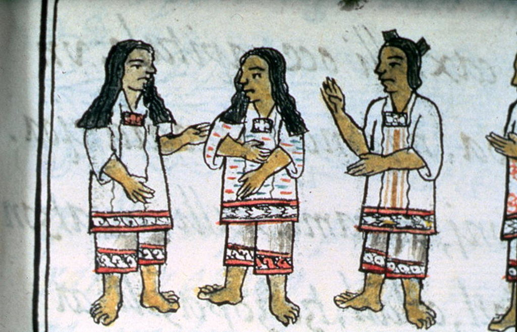 Detail of Book IX Female Aztec costumes by Spanish School