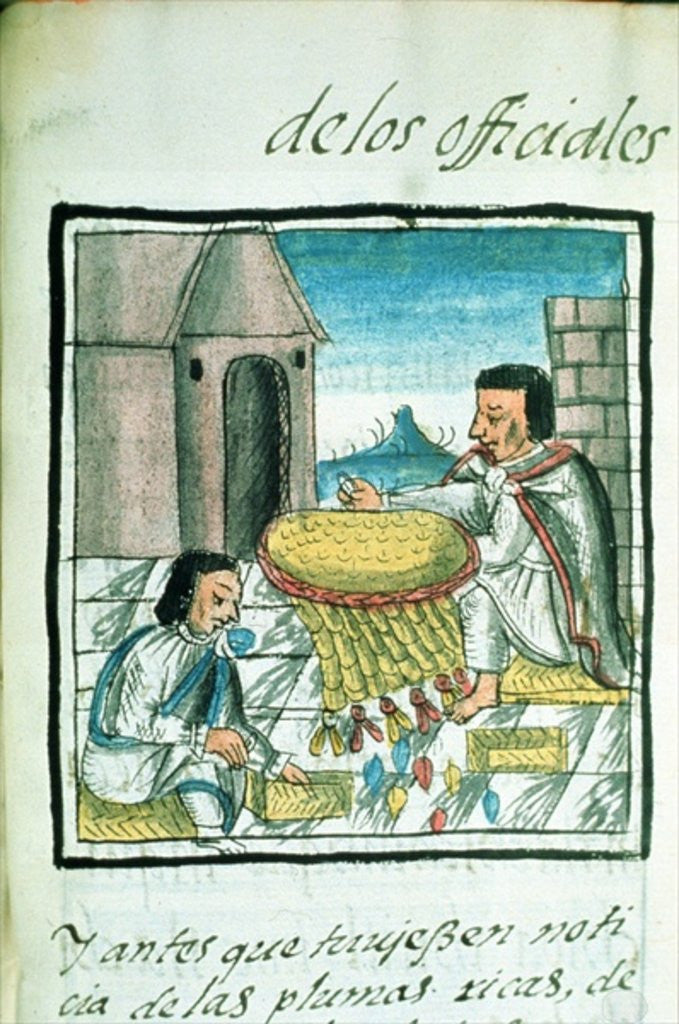 Detail of Aztec feather artisans at work by Spanish School