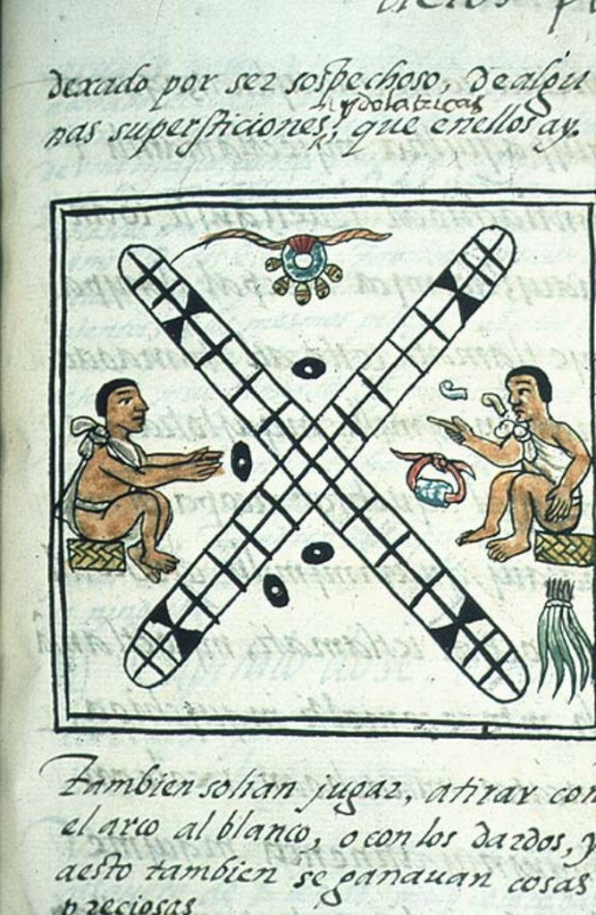 Detail of Ms Palat. 218-220 Book IX Aztec men gambling Patoli by Spanish School
