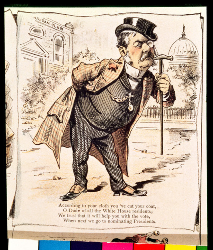 Detail of Caricature of Chester Alan Arthur by American School