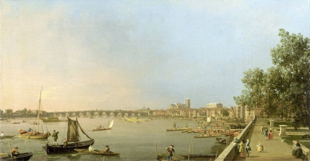 Detail of The Thames from the Terrace of Somerset House, looking upstream Towards Westminster and Whitehall by Canaletto