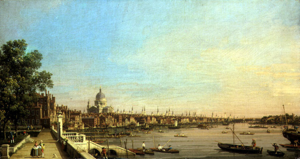 Detail of The Thames from the Terrace of Somerset House Looking Towards St. Paul's by Canaletto
