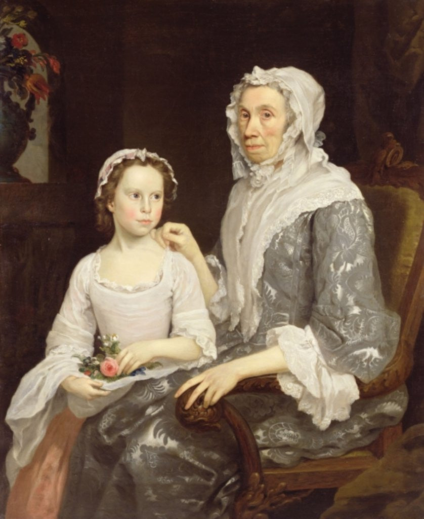 Detail of Portrait of an Elderly Lady and a Young Girl by George Beare