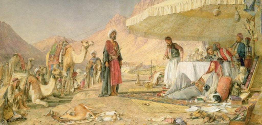 Detail of A Frank Encampment in the Desert of Mount Sinai by John Frederick Lewis