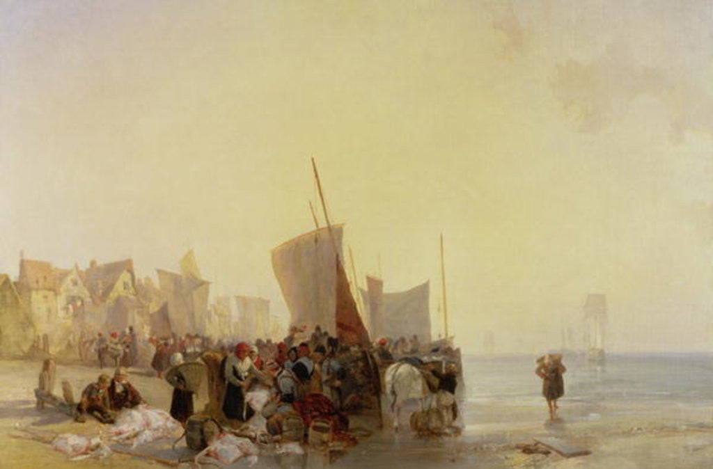 Detail of A Fishmarket Near Boulogne by Richard Parkes Bonington