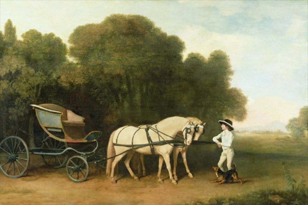 Detail of A Phaeton with a Pair of Cream Ponies in the Charge of a Stable-Lad by George Stubbs