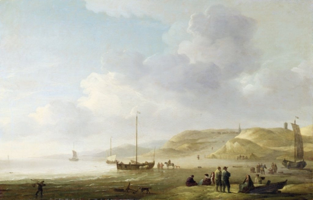 Detail of The Coast Near Scheveningen with Fishing Pinks on the Shore by Charles Brooking