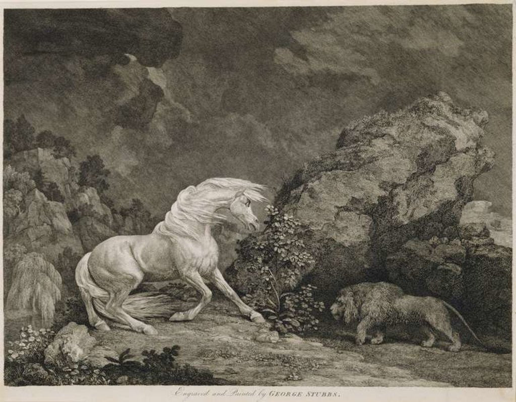 Detail of A Horse Affrighted by a Lion by George Stubbs