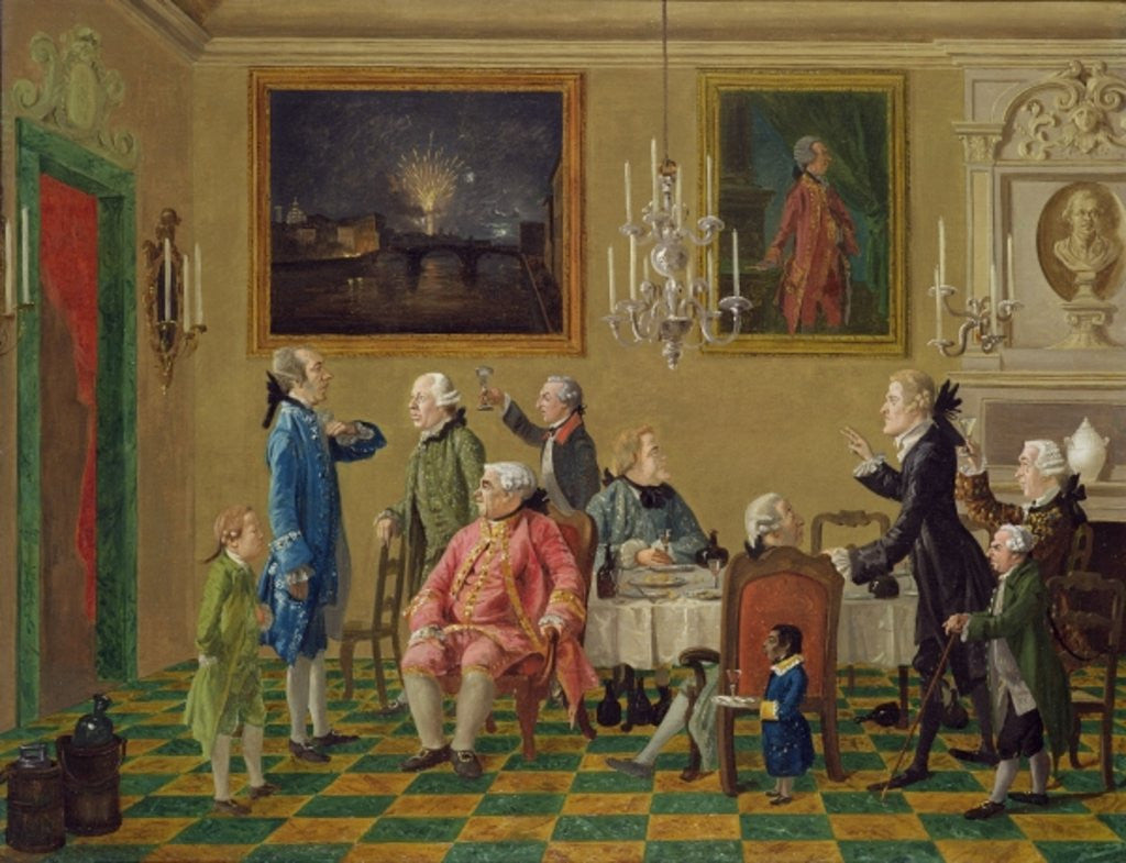 Detail of British gentlemen at Sir Horace Mann's home in Florence by Thomas Patch