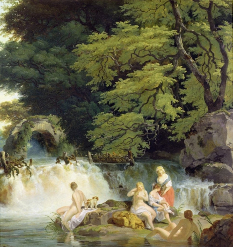 Detail of The Salmon Leap at Leixlip with Nymphs Bathing by Francis Wheatley