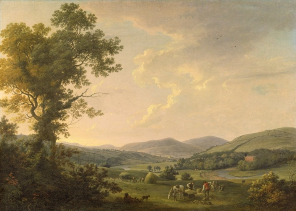 Detail of Landscape with Haymakers and a Distant View of a Georgian House by William Ashford