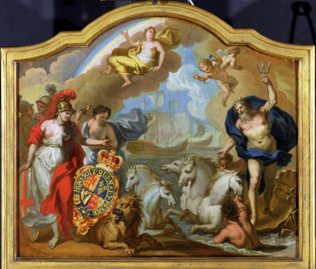 Detail of Allegory of the Power of Great Britain by Sea, design for a decorative panel for George I's ceremonial coach by Sir James Thornhill