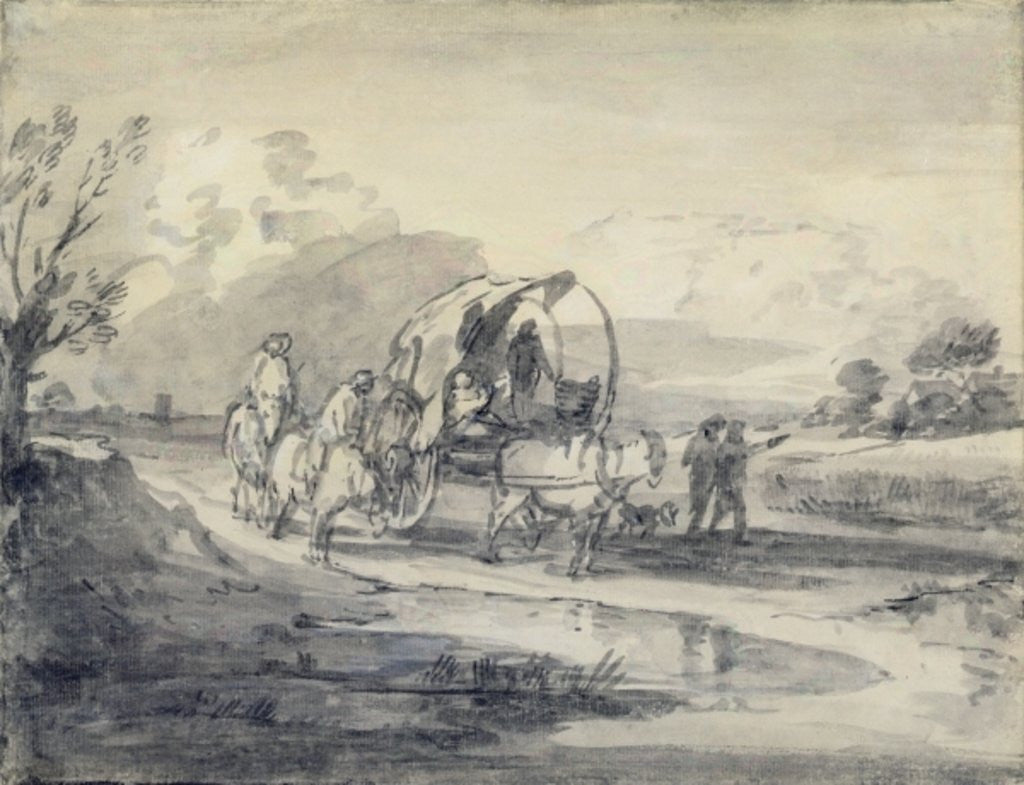 Detail of Open Landscape with Herdsman and Covered Cart by Thomas Gainsborough