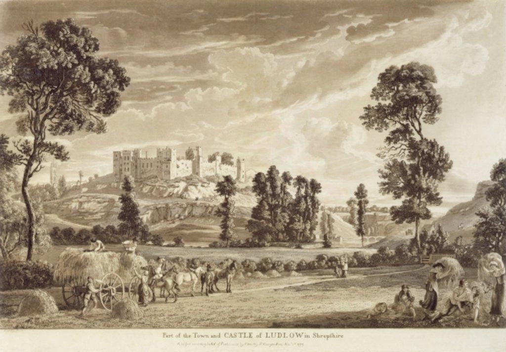 Part of the Town and Castle of Ludlow in Shropshire, engraved by the artist, published by P. Sandby
