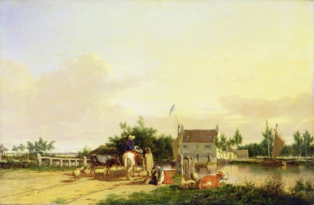 Detail of Buckenham Ferry on the River Yare, Norfolk by Joseph Stannard